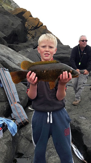 Tomos Roberts with a Ballan Wrasse of 2.12kg.